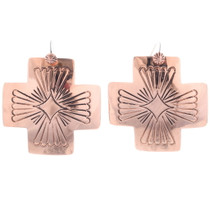 Navajo Cross Hand Made Copper Earrings 35464