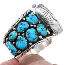 Vintage Natural Turquoise Nugget Watch Cuff 35467
