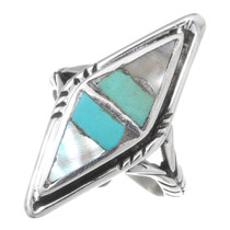 Vintage Turquoise Inlaid Silver Turquoise Ring 35470