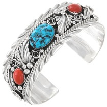 Turquoise Coral Sterling Silver Cuff Bracelet 35488