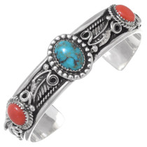 Turquoise Coral Silver Ladies Cuff Bracelet 35492