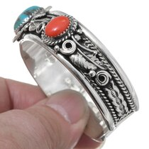 Navajo Turquoise Sterling Silver Western Cuff Bracelet 35492