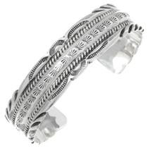Navajo Hammered Sterling Silver Cuff Bracelet 35493