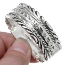 Hammered Navajo Pattern All Silver Bracelet 35493