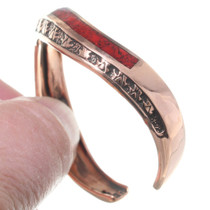 Red Coral Chip Inlay Wavy Copper Bracelet 35497