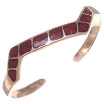 Navajo Coral Inlay Copper Cuff Bracelet 35498