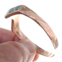 Turquoise Chip Inlay Zigzag Copper Bracelet 35499