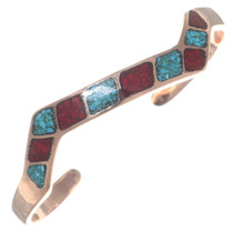 Turquoise Coral Inlay Copper Bracelet 35600