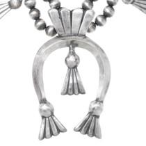 All Silver Navajo Squash Blossom Naja Necklace 35602