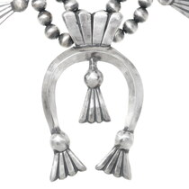 All Silver Navajo Squash Blossom Naja Necklace 35602