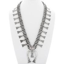 Navajo Sterling Silver Squash Blossom Necklace 35602