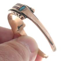 Copper Coral Turquoise Navajo Cuff Bracelet 35604