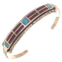 Navajo Turquoise Coral Inlay Copper Bracelet 35604