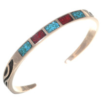 Navajo Ladies Turquoise Coral Copper Bracelet 35605