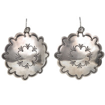 Santa Fe Hammered Silver Concho Earrings 22311
