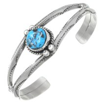 Sterling Silver Turquoise Navajo Cuff Bracelet 35611