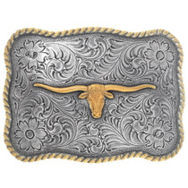 Gold Silver Longhorn Belt Buckle 35614