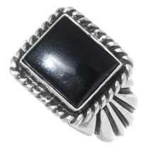 Navajo Black Onyx Sterling Mens Ring 35622