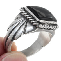 Sterling Silver Chiseled Shank Navajo Onyx Ring 3562235622