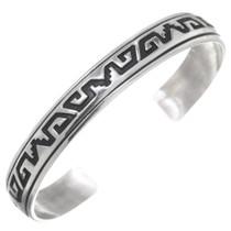All Sterling Silver Navajo Pattern Cuff Bracelet 35624
