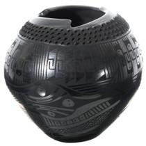 Mata Ortiz Rattlesnake Blackware Pottery 35630