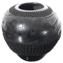 Mata Ortiz Textured Blackware Pottery 35634