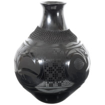 Mimbres Olla Pottery Black on Black Design 35640