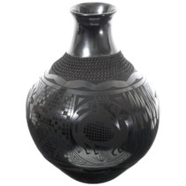 Large Black Mata Ortiz Pottery Vase 35640