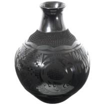 Large Black Mata Ortiz Pottery Vase 35640