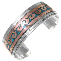 Navajo Turquoise Copper Sterling Silver Cuff Bracelet 35652