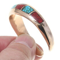 Navajo Chip Inlay Copper Cuff Bracelet 35674