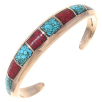 Turquoise Coral Native American Cuff Bracelet 35674
