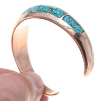 Navajo Made Kingman Turquoise Inlay Copper Bracelet 35675