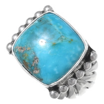 Navajo Turquoise Silver Mens Ring 35700