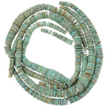Wide Turquoise Disc Beads Graduated Strand 35507