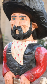Carved Wooden Outlaw Black Bart Gunslinger 35714
