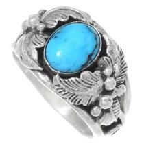 Turquoise Silver Navajo Ladies Ring 35722