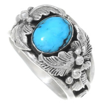 Turquoise Silver Navajo Ladies Ring 35722