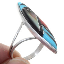 Inlaid Turquoise Geometric Pattern Zuni Ring 35725