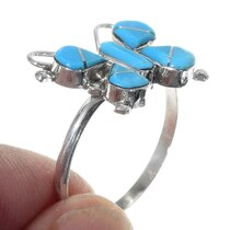 Inlaid Turquoise Zuni Butterfly Ring 35726