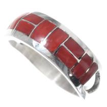 Zuni Inlay Silver Coral Ring 35729