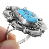 Navajo Hand Made Design Turquoise Ring 35733