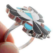 Turquoise Coral Multi-Stone Thunderbird Ring 35738