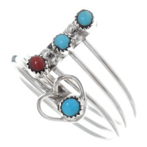 Zuni Turquoise Coral Silver Ring 35740