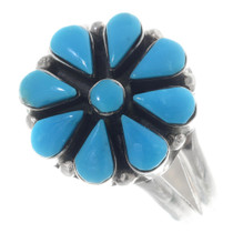Zuni Turquoise Silver Ladies Ring 35741