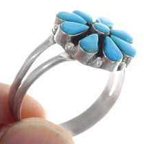 Turquoise Flower Ring Native American Made 35741