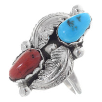 Turquoise Coral Silver Navajo Ring 35742