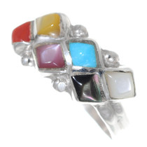 Multi Color Gemstone Inlay Zuni Ring 35744
