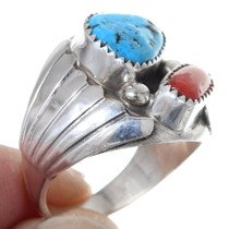 Traditional Turquoise Coral Native American Ring 35746