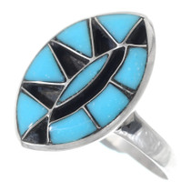 Zuni Inlaid Turquoise Ladies Ring 35749